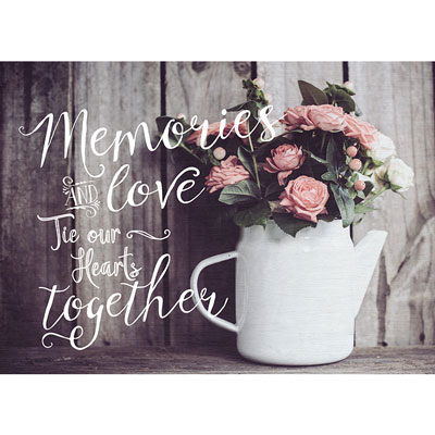 Photo Light Box Insert - Flowers - Memories and Love Tie Our Hearts Together