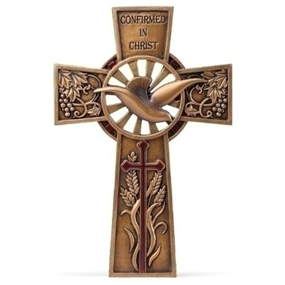Confirmation Wall Cross - Bronzed