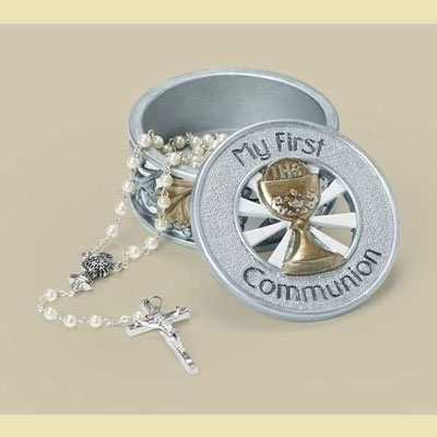 First Communion Keepsake Box - Silver/Gold Collection