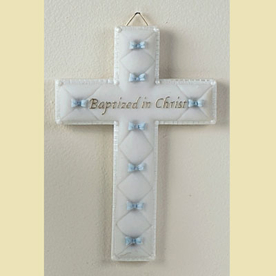 Baptized in Christ Wall Cross - Blue LARGE