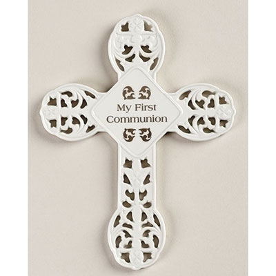First Communion Porcelain Cross LARGE