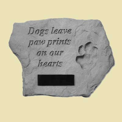 Dogs leave paw prints... Memorial Garden Stone LARGE