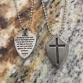 Shield Cross Pewter Dog Tag - Ephesians 6:10