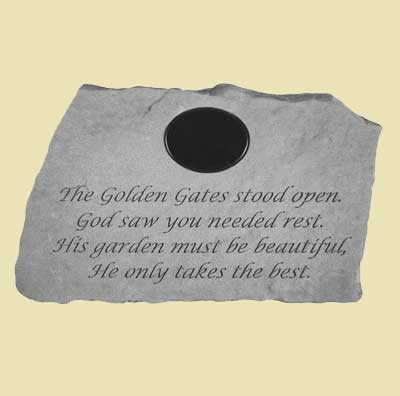The golden gates stood open... Personalized Memorial Garden Stone LARGE