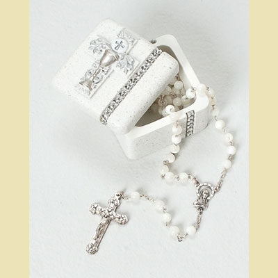 Silver Scroll/Chalice First Communion Keepsake Box