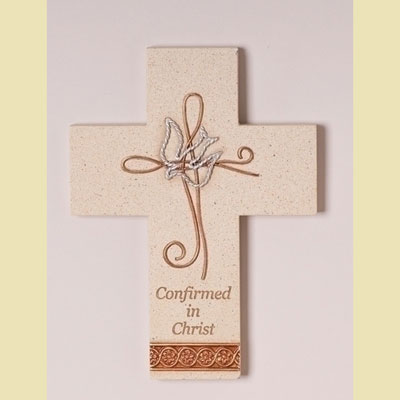 Confirmation Wall Cross - Wire Dove & Cross LARGE