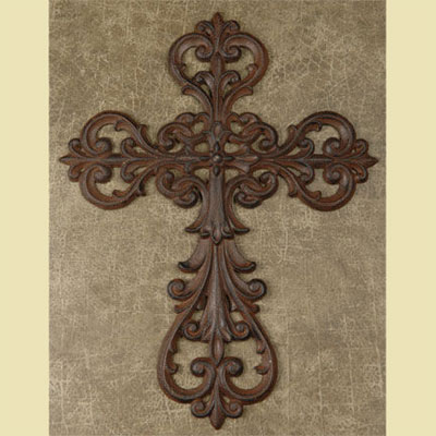 "Cast Iron 14"" Wall Cross LARGE"