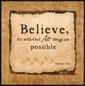 Believe - Matthew 19:26 Wooden Wall Plaque THUMBNAIL