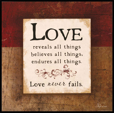 Love - 1 Corinthians 13  - Wooden Wall Plaque LARGE