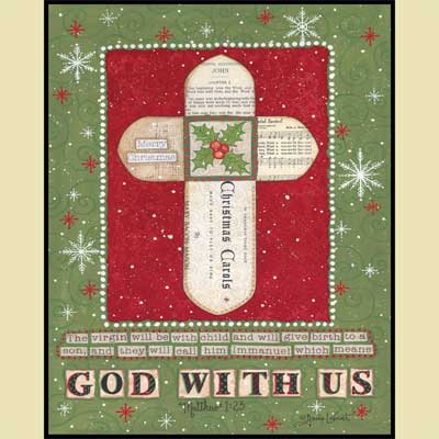 Christmas Cross Mounted Print LARGE