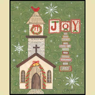 Joy to the World Church Mounted Print LARGE