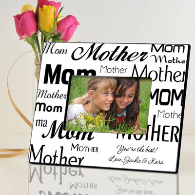Personalized Mom-Mother Frame - Black/White LARGE