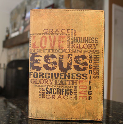 Jesus Collage Leather Printed Bible Cover LARGE
