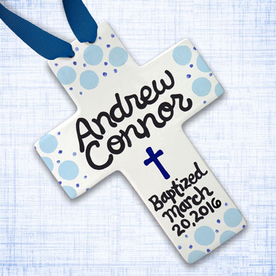 "Personalized Blue Polka Dot Baby Baptism Cross - 10"" LARGE"
