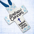 Personalized Blue Polka Dot Baby Baptism Cross - 10""