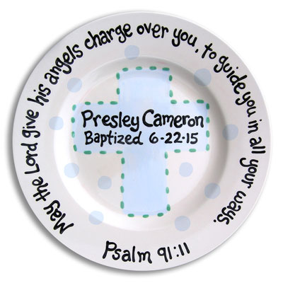 "Personalized Baptism Plate - Angels with Blue Cross - 10"" LARGE"