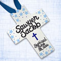 "Personalized Blue Stars Baby Baptism Cross - 10"" THUMBNAIL"