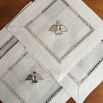 Taupe Beverage Napkins (Brown) - Set of Four LARGE