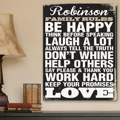 Antique Style Personalized Family Rules Personalized Canvas LARGE
