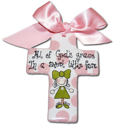 "Personalized 7"" Pink Cross for Girl LARGE"