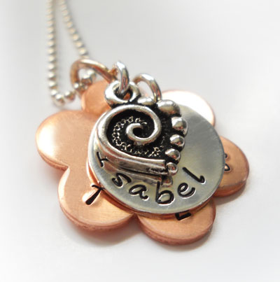 Copper Daisy Personalized Purity Necklace with Pewter Heart LARGE