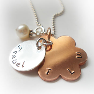 Copper Daisy Personalized Purity Necklace with Mother of Pearl