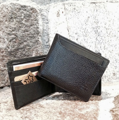 Leather Billfold w/Embossed Cross in Black LARGE