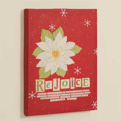 Rejoice Poinsettia Wrapped Canvas Print LARGE