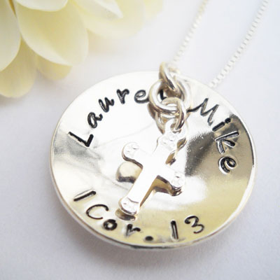 LOVE - 1 Corinthians 13 Sterling Silver Personalized Pendant LARGE