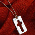 "Narrow Road Cross Necklace on 18"" Chain THUMBNAIL"