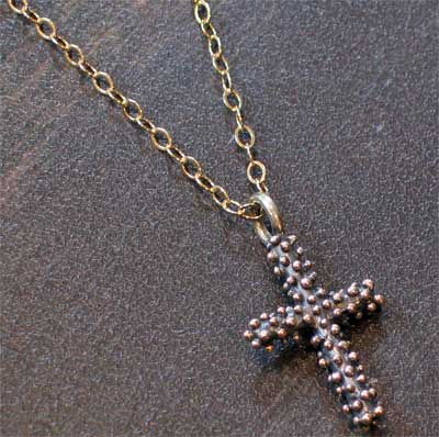 Sterling Silver Dew Drop Heavy Stick Cross Necklace