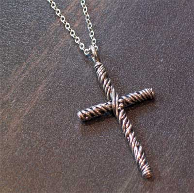 Sterling Silver Large Vine Cross Necklace