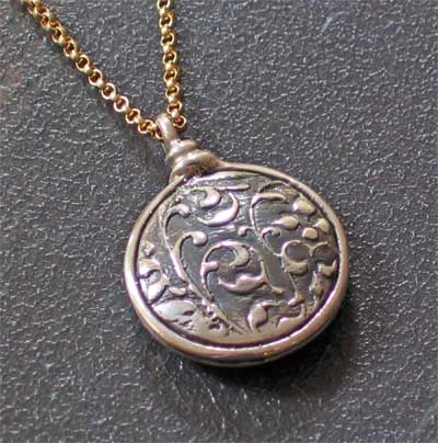 Sterling Silver Puff Medallion - Be still before the Lord LARGE
