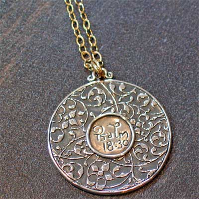 Sterling Silver Scripture Medallion Necklace - Psalm 18.30