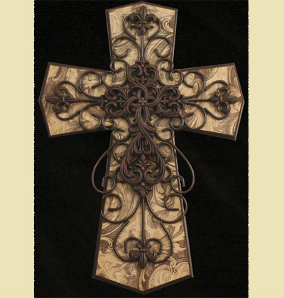 "Brown and Tan 24"" Wall Cross LARGE"