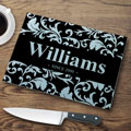 Personalized Glass Cutting Board - Black Flourish