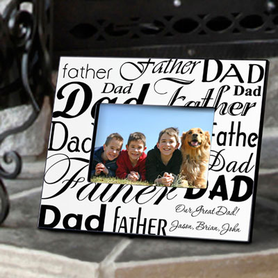 Personalized Dad-Father Frame - Black/White LARGE