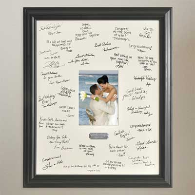 Personalized Wedding Wishes Signature Frame with Engraved Plate LARGE