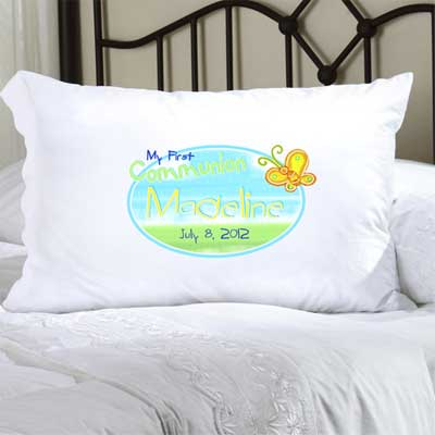 Personalized First Communion Pillow Case with Butterfly LARGE