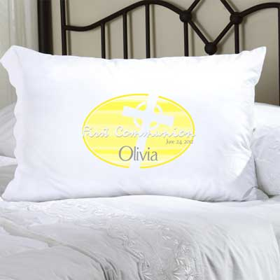 Personalized First Communion  Pillow Case with Celtic Cross (Yellow)