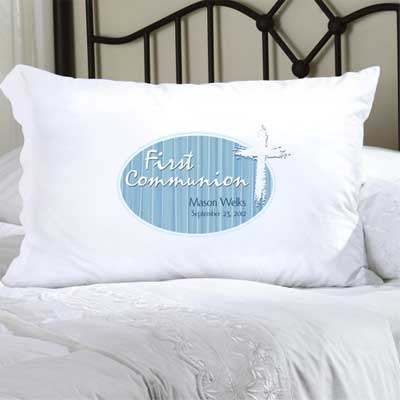 Personalized First Communion Pillow Case with Cross (Blue)