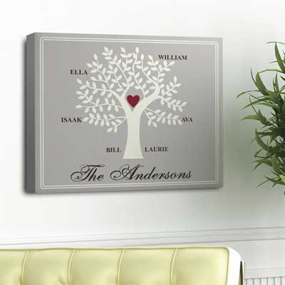 Personalized Traditional Contemporary Family Tree Canvas LARGE