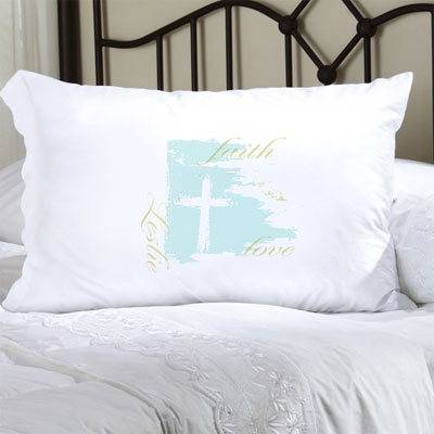 Personalized Pillow Case with Faith & Love LARGE