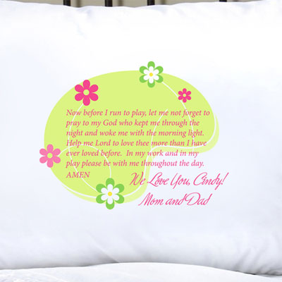 Personalized Pillow Case with Morning Prayer LARGE