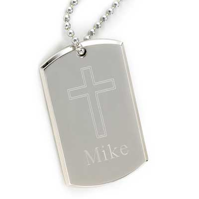 Large Personalized Dog Tag with Engraved Cross LARGE