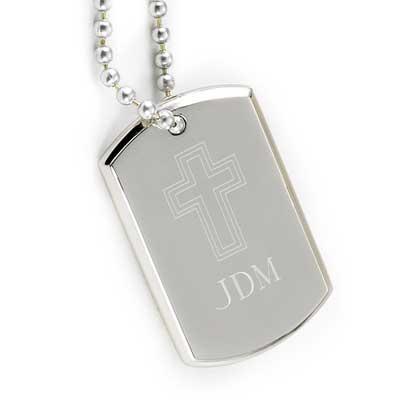 Small Personalized Dog Tag with Engraved Cross LARGE
