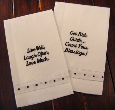 'Live Well...' & 'Get Rich Quick...' Guest Towels - Set of Two LARGE