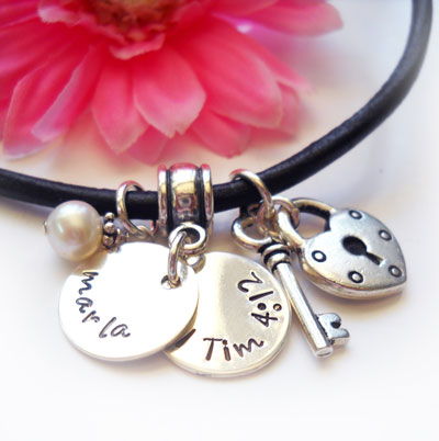 Personalized Purity Charm Necklace on Leather LARGE