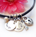 Personalized Purity Charm Necklace on Leather SWATCH