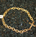 Handcast Gold Sideways Cross Necklace